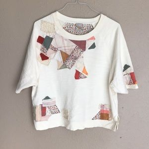 Anthropologie Postage stamp patchwork blouse